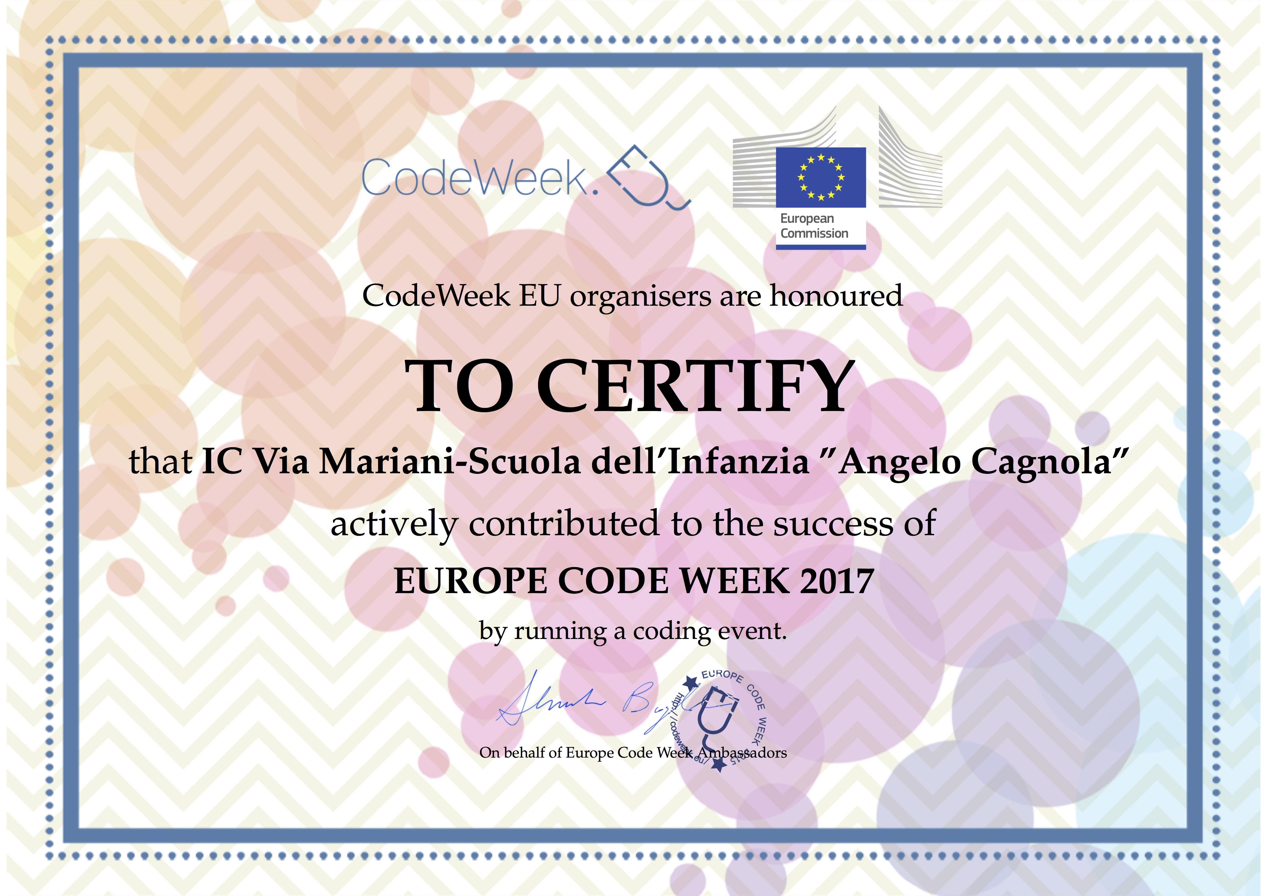 Attestato CodeWeek 2017 Cagnola