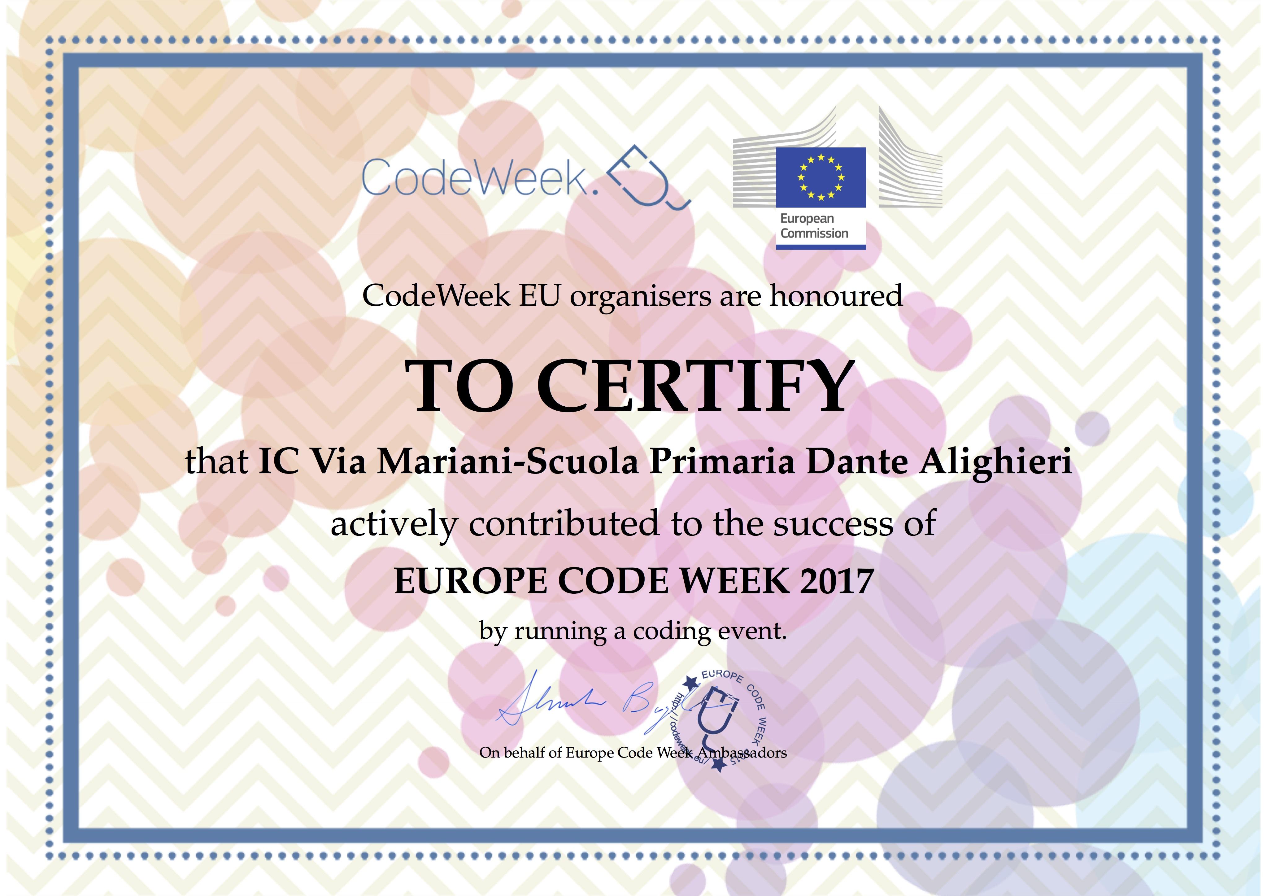 Attestato CodeWeek 2017 Dante