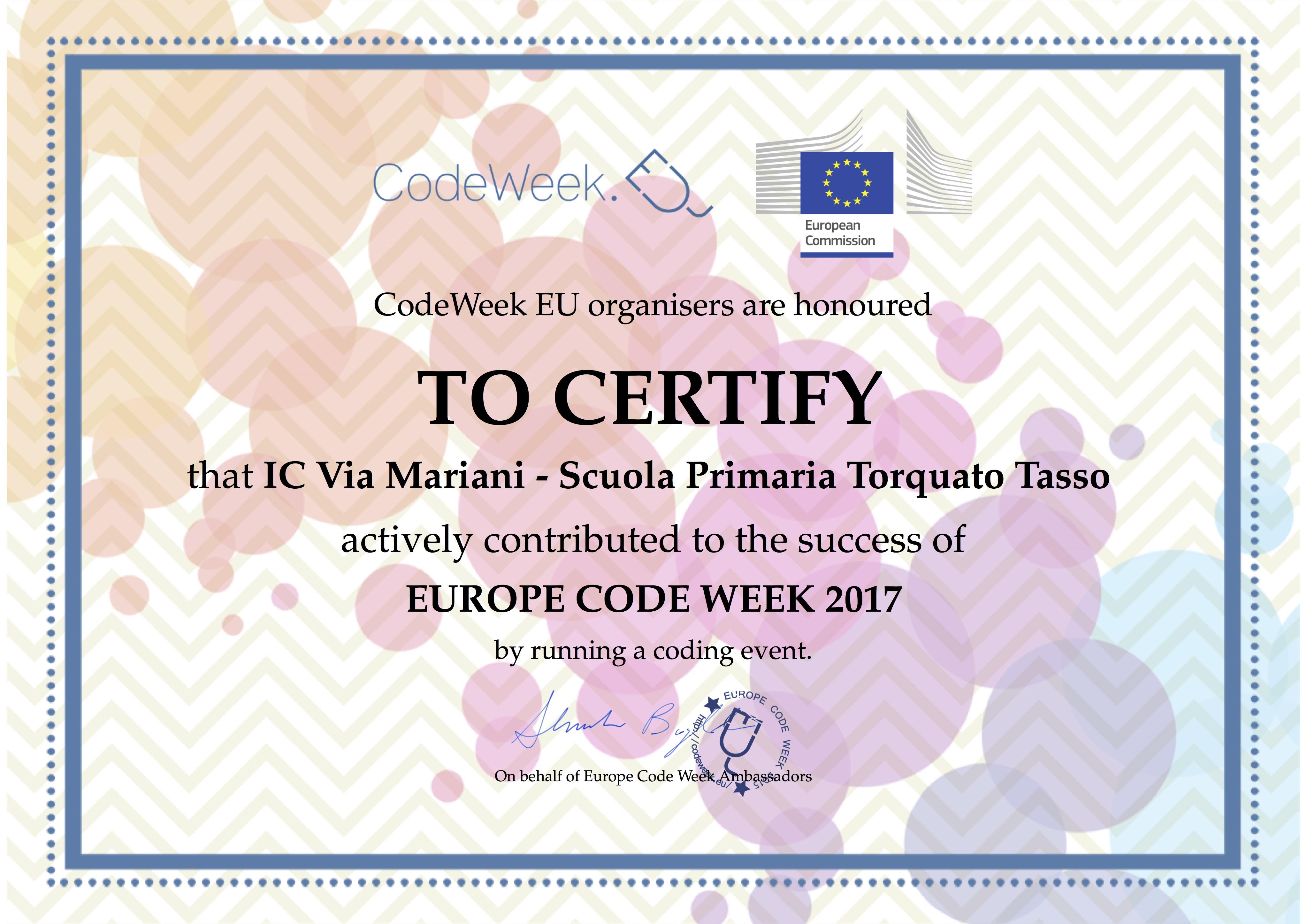 Attestato CodeWeek 2017 -Tasso